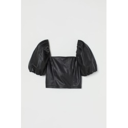 H & M - Faux Leather Top - Black found on Bargain Bro Philippines from H&M (US) for $29.99