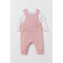 H & M - Bib Overalls and Top - Pink