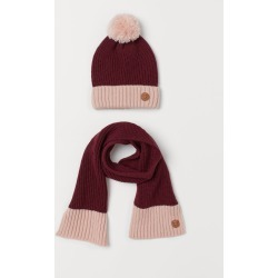 H & M - Rib-knit Hat and Scarf - Red
