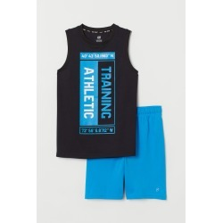 H & M - Tank Top and Sports Shorts - Black