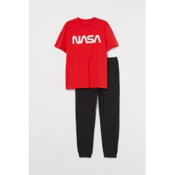 H & M - Pajama T-shirt and Pants - Red