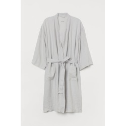 H & M - Washed Linen Bathrobe - Gray found on Bargain Bro India from H&M (US) for $49.99