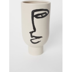 H & M - Tall Vase with Motif - White