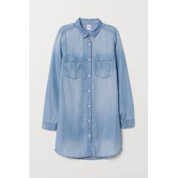 H & M - Long Denim Shirt - Blue found on Bargain Bro India from H&M (US) for $29.99