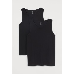 H & M - 2-pack Regular Fit Tank Tops - Black found on Bargain Bro India from H&M (US) for $12.99