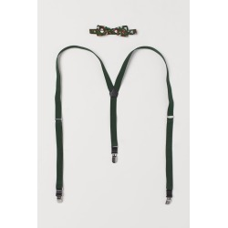 H & M - Suspenders and Bow Tie - Green