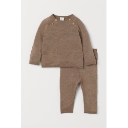 H & M - Silk-blend Sweater and Pants - Brown