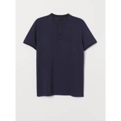 H & M - Polo Shirt with Band Collar - Blue