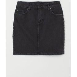 H & M - Denim Skirt with Studs - Black found on Bargain Bro India from H&M (US) for $14.99