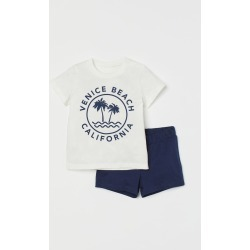 H & M - 2-piece Cotton Jersey Set - Blue found on Bargain Bro from H&M (US) for USD $7.59