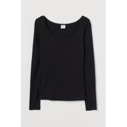 H & M - Ribbed Modal-blend Top - Black found on Bargain Bro from H&M (US) for USD $8.35