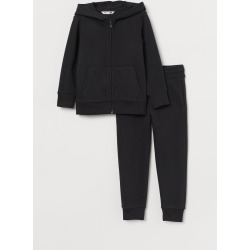 H & M - Hooded Jacket and Pants - Black
