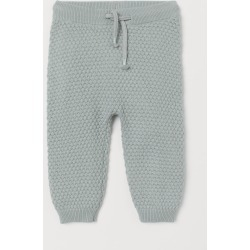 H & M - Textured-knit Pants - Turquoise