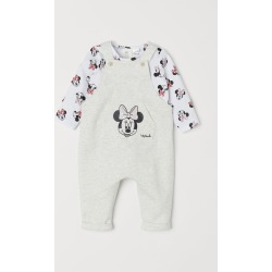 H & M - Bib Overalls and Top - Gray