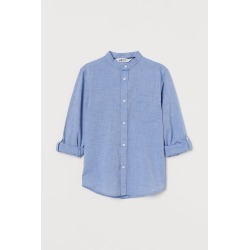 H & M - Band-collar Shirt - Blue found on Bargain Bro India from H&M (US) for $14.99