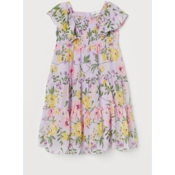 H & M - Floral Ruffled Dress - Purple