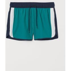 H & M - Short Patterned Swim Shorts - Green