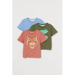 H & M - 3-pack Cotton T-shirts - Orange found on Bargain Bro from H&M (US) for USD $11.39
