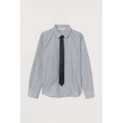 H & M - Shirt with Tie/Bow Tie - Gray found on Bargain Bro Philippines from H&M (US) for $19.99