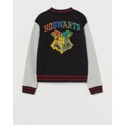 H & M - Printed Baseball Jacket - Black found on Bargain Bro India from H&M (US) for $29.99