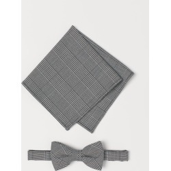 H & M - Checked Bow Tie & Handkerchief - Black