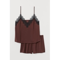 H & M - Pajama Camisole Top and Shorts - Brown