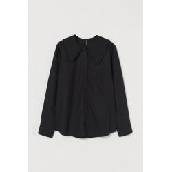 H & M - Wide-collared Shirt - Black found on Bargain Bro India from H&M (US) for $24.99