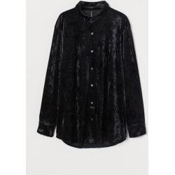 H & M - Velvet Shirt - Black found on Bargain Bro India from H&M (US) for $12.99