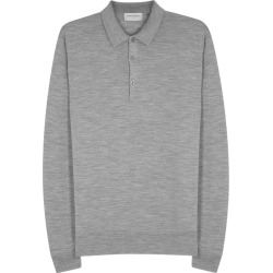 John Smedley Belper Grey Fine-knit Wool Polo Shirt found on MODAPINS from Harvey Nichols for USD $226.04