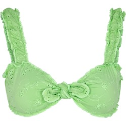 Frankies Bikinis Colby Green Eyelet-embroidered Bikini Top found on MODAPINS from Harvey Nichols for USD $156.54