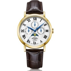 Rotary Watches Gold Windsor Gents Multifunction Quartz Leather Watch