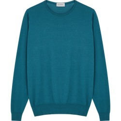 John Smedley Lundy Teal Wool-blend Jumper found on MODAPINS from Harvey Nichols for USD $232.86