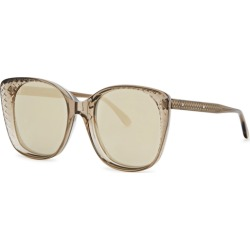 Bottega Veneta Pale Grey Engraved Mirrored Sunglasses found on Bargain Bro UK from Harvey Nichols