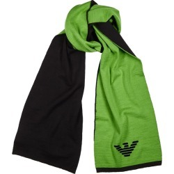 Emporio Armani Black And Green Logo Wool-blend Scarf found on Bargain Bro UK from Harvey Nichols