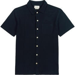Oliver Spencer Pavis Navy Waffle-knit Cotton Shirt found on MODAPINS from Harvey Nichols for USD $183.31