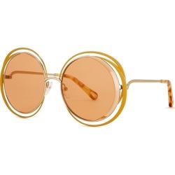 Chloé Carlina Orange Round-frame Sunglasses found on Bargain Bro UK from Harvey Nichols