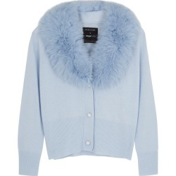 Izaak Azanei Blue Fur-trimmed Wool And Cashmere-blend Cardigan found on Bargain Bro UK from Harvey Nichols