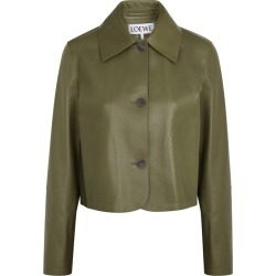 Loewe Olive Leather Jacket found on MODAPINS from Harvey Nichols for USD $2583.30