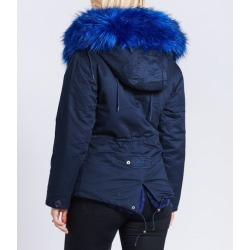 4b5b8aae8aae Popski London Fabulous Faux Navy Parka Jacket With Faux Fur Collar Navy  found on MODAPINS from