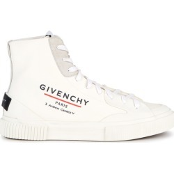 Givenchy Tennis Off-white Coated Canvas Hi-top Sneakers found on MODAPINS from Harvey Nichols for USD $698.43