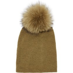 Inverni Paola Olive Pompom Cashmere Beanie found on MODAPINS from Harvey Nichols for USD $343.84