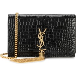 Saint Laurent Kate Black Crocodile-effect Wallet-on-chain found on Bargain Bro UK from Harvey Nichols