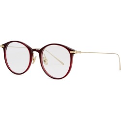 Linda Farrow Linear Dark Red Oval-frame Optical Glasses found on MODAPINS from Harvey Nichols for USD $422.66