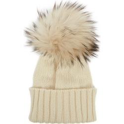 Inverni Giulietta Cream Pompom Cashmere Beanie found on MODAPINS from Harvey Nichols for USD $288.82