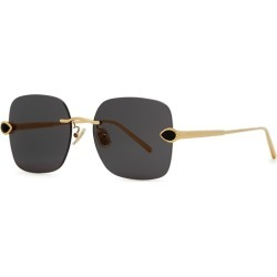 Boucheron Gold-plated Square-frame Sunglasses found on MODAPINS from Harvey Nichols for USD $1063.98