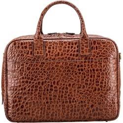 Maxwell Scott Bags Maxwell Scott Crocodile Print Leather Laptop Bag - Calvino Croco Brown found on Bargain Bro UK from Harvey Nichols
