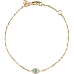 Sydney Evan 14ct Yellow Gold Diamond And Turquoise Small Bezel Evil Eye Bracelet found on Bargain Bro UK from Harvey Nichols