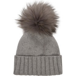 Inverni Giulietta Light Grey Pompom Cashmere Beanie found on MODAPINS from Harvey Nichols for USD $288.82