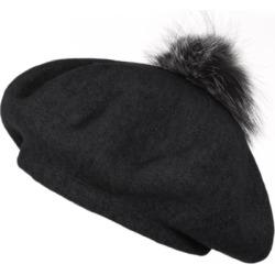 356044e976f Popski London Bella Beret Fur Pom Pom Hat Black With Silver Fox Fur Pom Pom  found