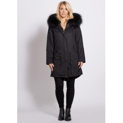 Popski London Popski London Black 3-4 Length Parka With Matching Raccoon Fur Collar found on Bargain Bro UK from Harvey Nichols